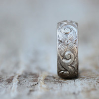 Unique Band - Recycled Non Conflict Sterling Silver Deeply Etched and Lightly Oxidized Ring - Ethical Jewelry Roots Jewelry Bohemian Chic