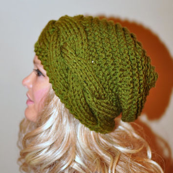Slouchy Hat Slouch Beanie Cable Hand Knit Winter  Women Teen CHOOSE COLOR Olive Green Forest Autumn Fall Chunky Gift under 50