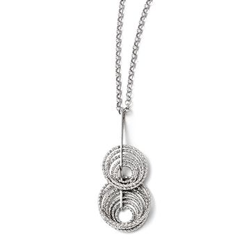 Adjustable Laser Cut Layered Circle Necklace in Sterling Silver