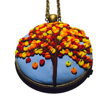 Polymer necklace Autumn necklace Bohemian pendant Christmas gift Women's jewelry Statement jewelry Gift idea Gift for her Tree pendant
