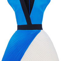 Two-Tone Cady V-Neck Dress With Plisse Skirt by Fausto Puglisi for Preorder on Moda Operandi