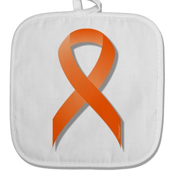 Leukemia Awareness Ribbon - Orange White Fabric Pot Holder Hot Pad