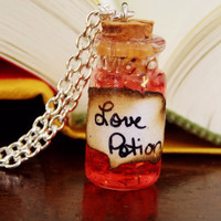 Love Potion Necklace. Ingredient Card Included. 18 inch Silver Tone Chain.