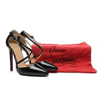Christian Louboutin Black Patent Leather Cross Belt High Heels 120mm