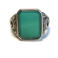 Vintage Sterling Scrolling Green Onyx Glass Mens Ring Size 11
