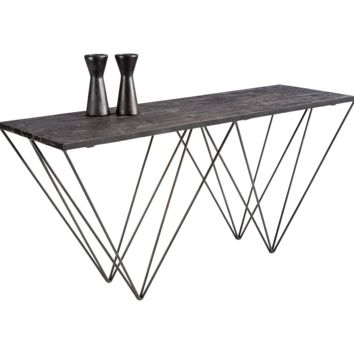 MUFFIN IRON BASE WITH BLACK PLANKS OF RECYCLED PINE TOP CONSOLE TABLE