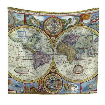 Around the World Victorian Map Tapestry