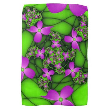 Modern Abstract Neon Pink Green Fractal Flowers Hand Towels