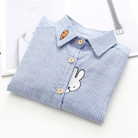 Newest Style Rabbit Embroidery Carrot Collor Stripe Shirt Women's Shirts Good Quality Long Sleeve Blouse Shirt Female Blue S-XL