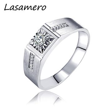 LASAMERO Rings for Men 0.15CT Round Cut Center Natural Diamond Ring 18k White Gold Engagement Wedding Ring Daimond Accents