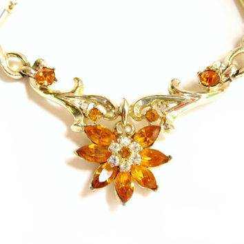 Vintage Coro Amber Rhinestone Flower Necklace, Floral Flower Choker, Gold Tone Metal