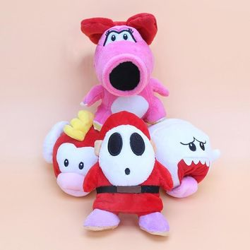 Super Mario party nes switch 4Pcs/Set Anime 15cm  Plush Doll Toy Mushroom Princess  Birdo Shy Guy Boo White Ghost Stuffed Animals Kids Gift AT_80_8