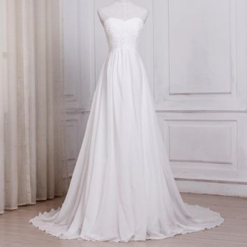 White Ivory Chiffon Beach Wedding Dresses Sweetheart A-line Bridal Gowns with Zipper Back