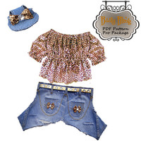Dog Clothes Pattern to Sew Girl Dog Top & Jeans PDF All Sizes Included