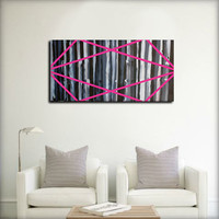 Original- Large abstract painting on wood panel. Fucsia, black, and white.