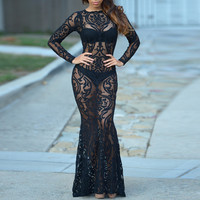 Sheer Floral Lace Print Long Sleeves Maxi Dress
