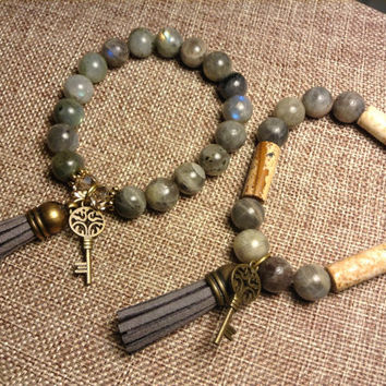 Labradorite Semi Precious Gemstone With Picture Jasper with Tassel And Key Charm Stretch Bracelet