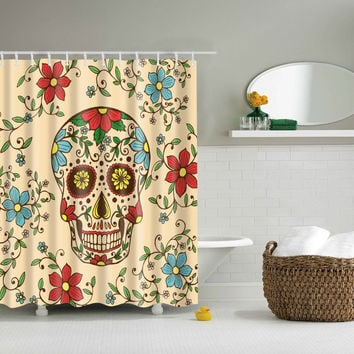 Floral Skull Gothic Style Shower Curtains Waterproof Bathroom Curtains Polyester 180x180cm Decoration With Hooks