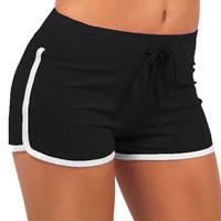 Black Drawstring Waist White Trims Yoga Shorts