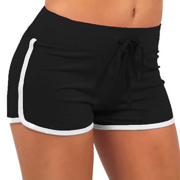 Black with White Trim Drawstring Shorts