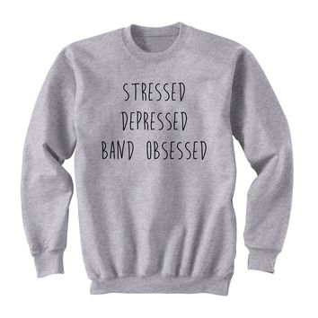 Stressed Depressed Band Obsessed Sweatshirt Women 5SOS 5 Seconds of Summer Long Sleeve Streetwear Causal Hoodies Tops