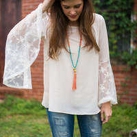 Flower Bell Blouse, Ivory
