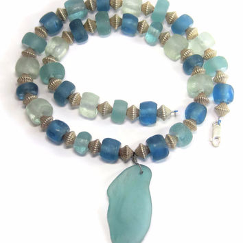 Vintage Sterling Blue Tumbled Sea Glass Bead Statement Necklace