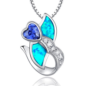 Sterling Silver Heart Flower Blue Green Fire Opal and Purple CZ Pendant Necklace