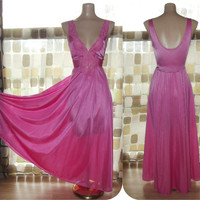 Vintage 70s 80s Hot Pink Nylon & Lace Full Sweep OLGA Nightgown Stretch Sweetheart Bodice 92280 LARGE