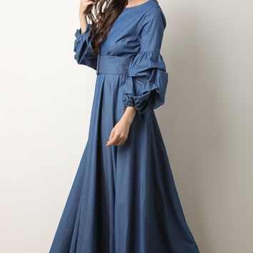 Chambray Puff Statement Sleeve Maxi Dress
