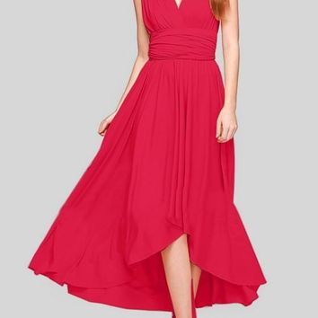 Red Irregular Cross Back Plunging Neckline Sleeveless Maxi Dress