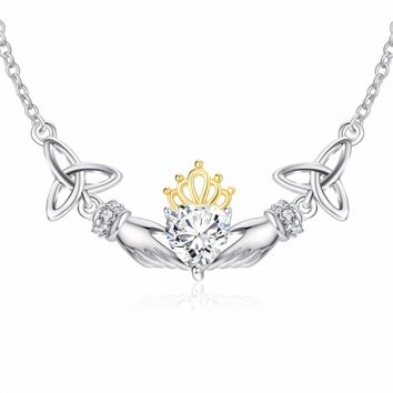 Sterling Silver & Crystal Necklace Choker Celtic Trinity Knot Claddagh Necklace