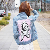 2016 denim jacket women ripped hole design Marilyn Monroe print all-match jeans jacket women outerwear coat