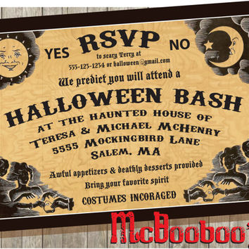 Ouija inspired Halloween Party Invitations