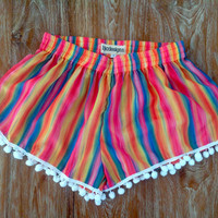 Pom Pom Shorts - Pastel Candy Stripes - Rainbow -  White Pom Pom's