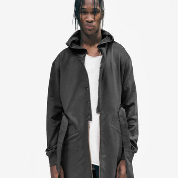 Desert Sand Hooded French Terry Trench in Black