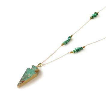 Long Gold Arrowhead Necklace, Turquoise Bar Necklace by Landon Lacey, Delicate Necklace with Thin Chain Gold Filled
