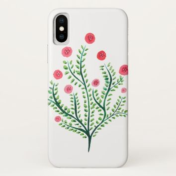 Abstract Spring Plant Pink And Green Ink Drawing iPhone X Case