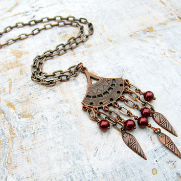 Boho statement necklace burgundy copper Bohemian chain necklace
