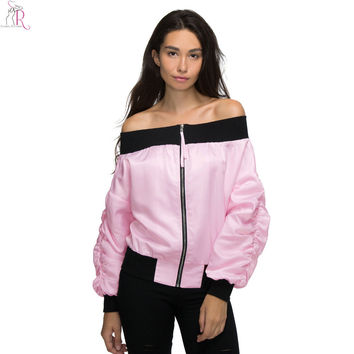 Pink Off Shoulder Bomber Pilot Jacket Coat Satin Sateen Long Sleeve Loose Casual Sexy High Street 2016 Women Autumn Fall