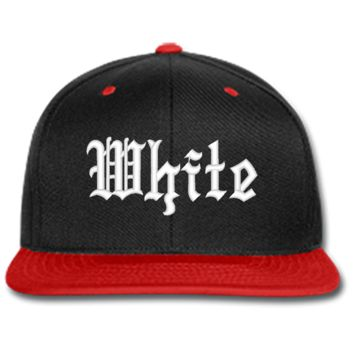white embroidered beanie or SNAPBACK hat