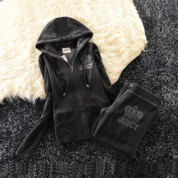 Juicy Couture Studded Simple Logo Crown Velour Tracksuit 31058 2pcs Women Suits Dark Grey
