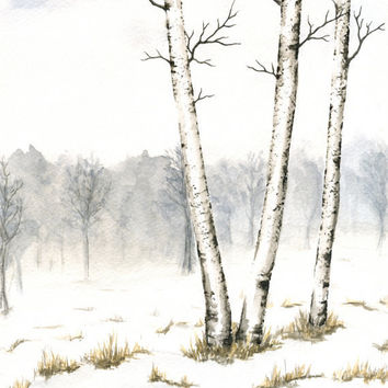 "Original Winter Landscape Painting, Birch Trees Watercolor, Winter Birches Art, Winter Trees, Gray Sky, Snow, Watercolor 8"" X 10"""