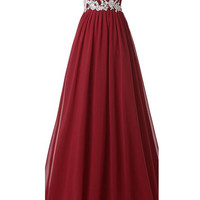 Burgundy Long Beaded Sweetheart Chiffon Lace Prom Dresses SM9