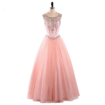 Pink A line Tulle Dresses Elegant Evening Party Gown
