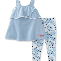 Blue Ruffle Tank & Floral Leggings - Toddler