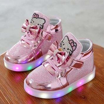 Children Shoes New Spring Hello Kitty Rhinestone Led Sprot Shoes Girls Princess Cute Shoes With Light EU 21-30 Kids Sneakers
