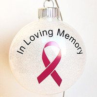 "Glitter Christmas Ornament - In Loving Memory Cancer Awareness Ribbon - Pink Ribbon - Breast Cancer - White Glitter - 4"" Glass Ornament"