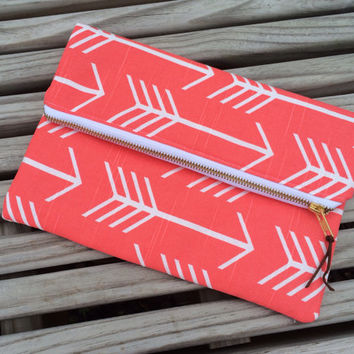 Coral Arrow Foldover Clutch