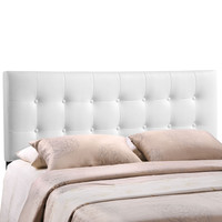 Emily Queen Vinyl Headboard in White